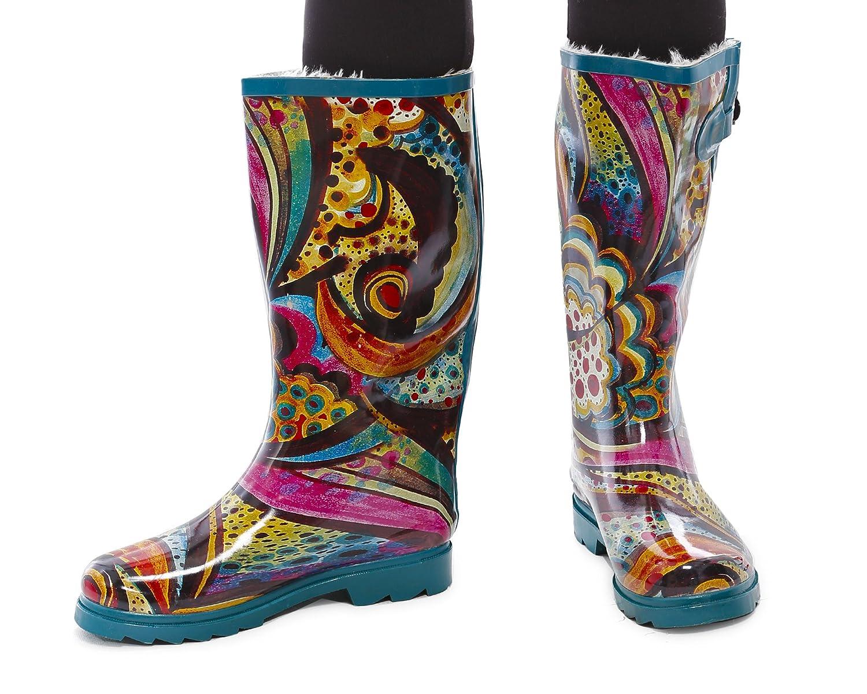 Women Rubber Fur Lined Rain Boots & Snow Boots. Waterproof. Mid Calf Knee High,