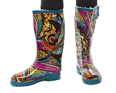 Amazon.com | Women Rubber Fur Lined Rain Boots & Snow Boots ...