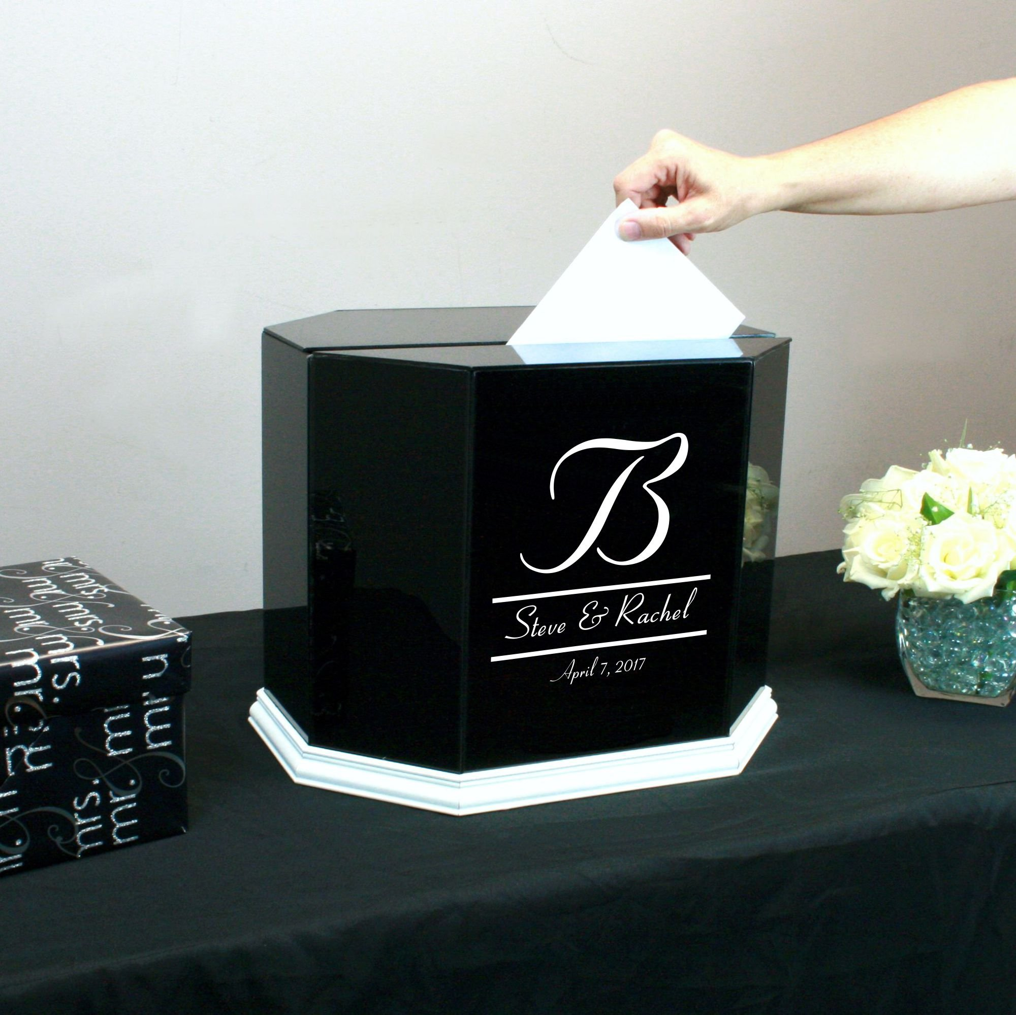 Personalized Wedding Card Box Black Glass with White Trim by Perfect Cases