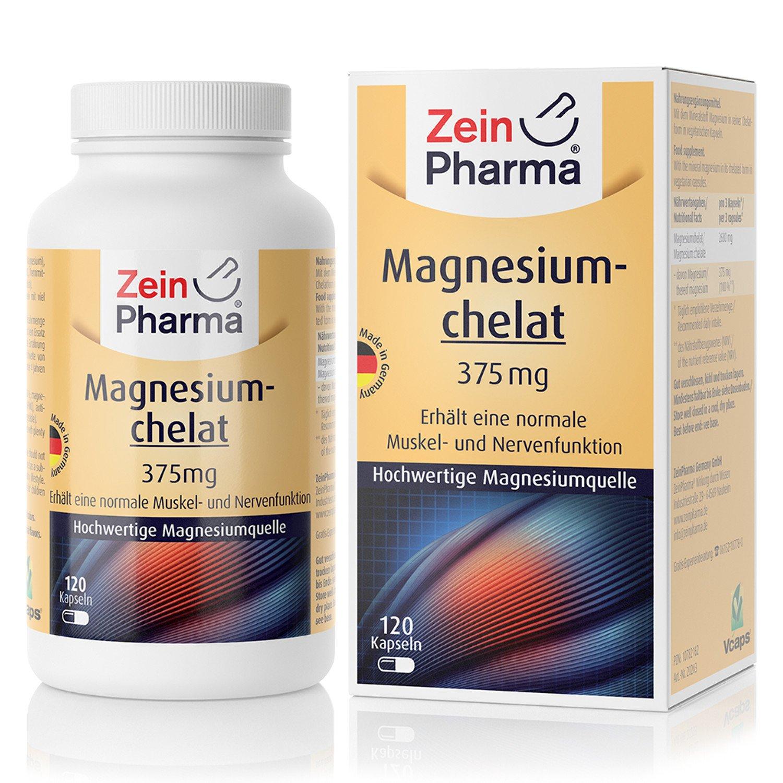 Cápsulas de Quelato de Magnesio 112mg de ZeinPharma • 120 cápsulas (5 semanas de suministro) • sin gluten, vegano, kosher y halal • Hecho en Alemania: ...