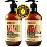 Moroccan Argan Oil Shampoo and Conditioner SLS Sulfate Free Gift Set - Best for Damaged, Dry, Curly or Frizzy Hair…
