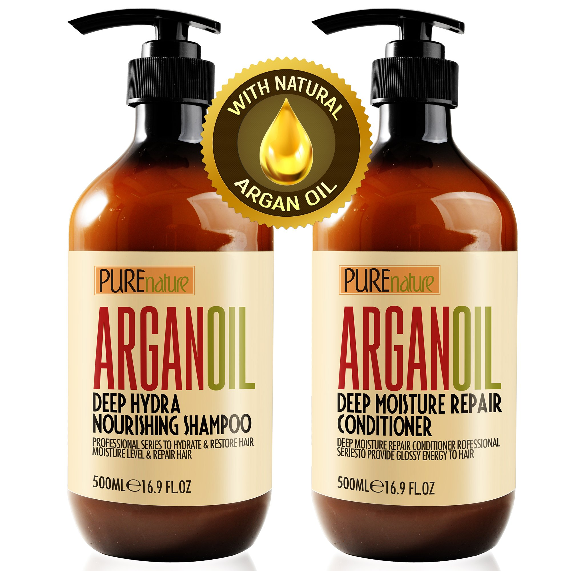 Moroccan Argan Oil Shampoo and Conditioner SLS Sulfate Free Organic Gift Set - Best for Damaged, Dry, Curly or Frizzy Hair - Thickening for Fine/Thin Hair, Safe for Color and Keratin Treated Hair by Pure Nature Lux Spa