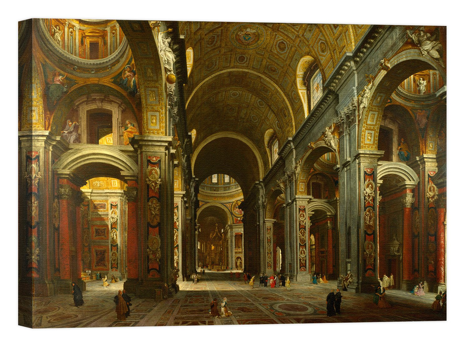 Rahmen Druck auf Leinwand mit Rahmen in Holz Giovanni Paolo Panini The Interior Of St peter' S, Rome 80x60 CM