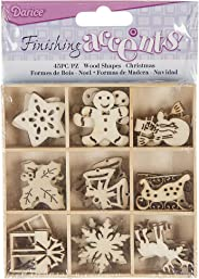 Finishing Accents 23464 Darice Mini Laser Cut Wood Shapes: Christmas Theme, 45 Pieces, Multicolor Count
