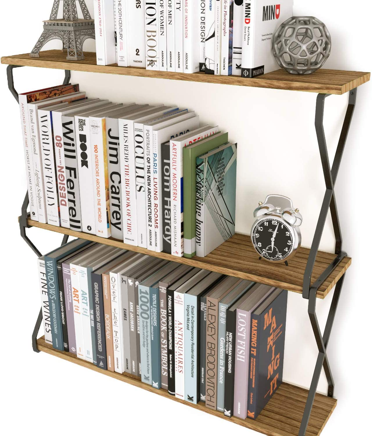 Wallniture Lucca 24 Inch Wooden Wall Shelf for Living Room Decor, 3 Tier Floating Shelves for Wall Natural Burned