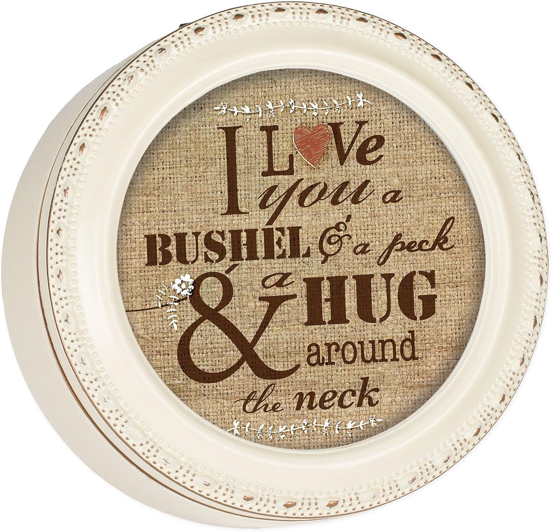 Cottage Garden I Love You a Bushel and a Peck Ivory Rope Trim Round Jewelry Keepsake Box