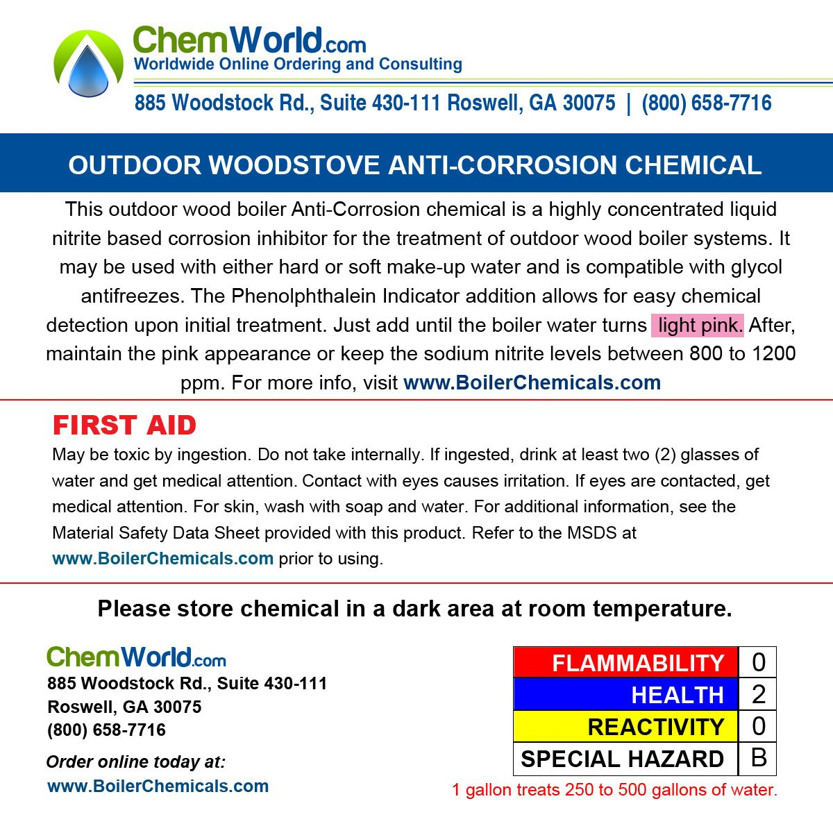 Chemworld Boiler Rust Inhibitor - 1/2 Gallon - Treats up to 250 Gallons of Water
