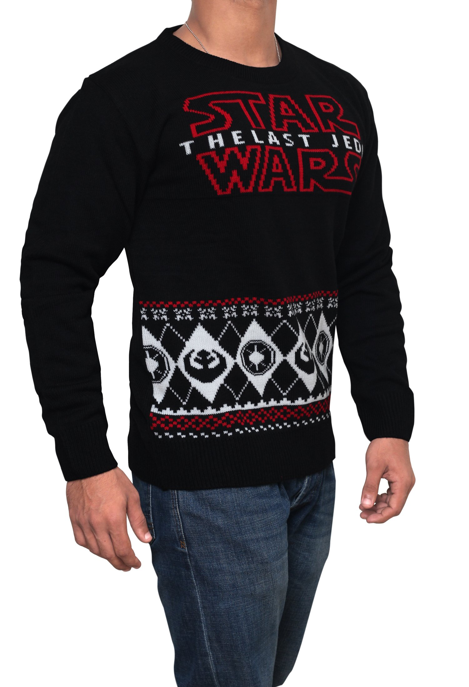 Star Wars Last Jedi Sweater - Star Wars Holiday Sweater by Miracle (Black, Large)