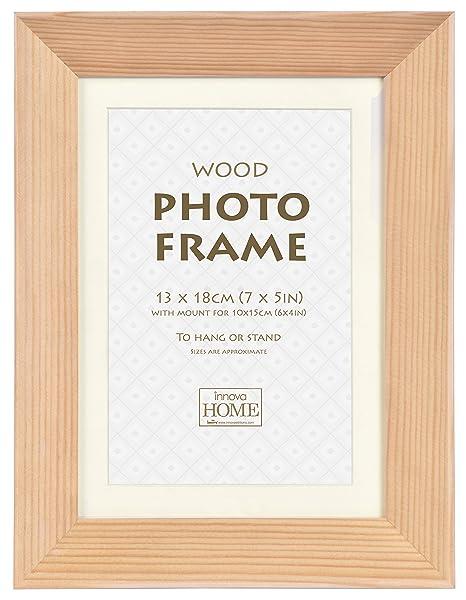 Innova Deep Set Wood Photo Frame With Painted White Edge, Pine, 10 x ...