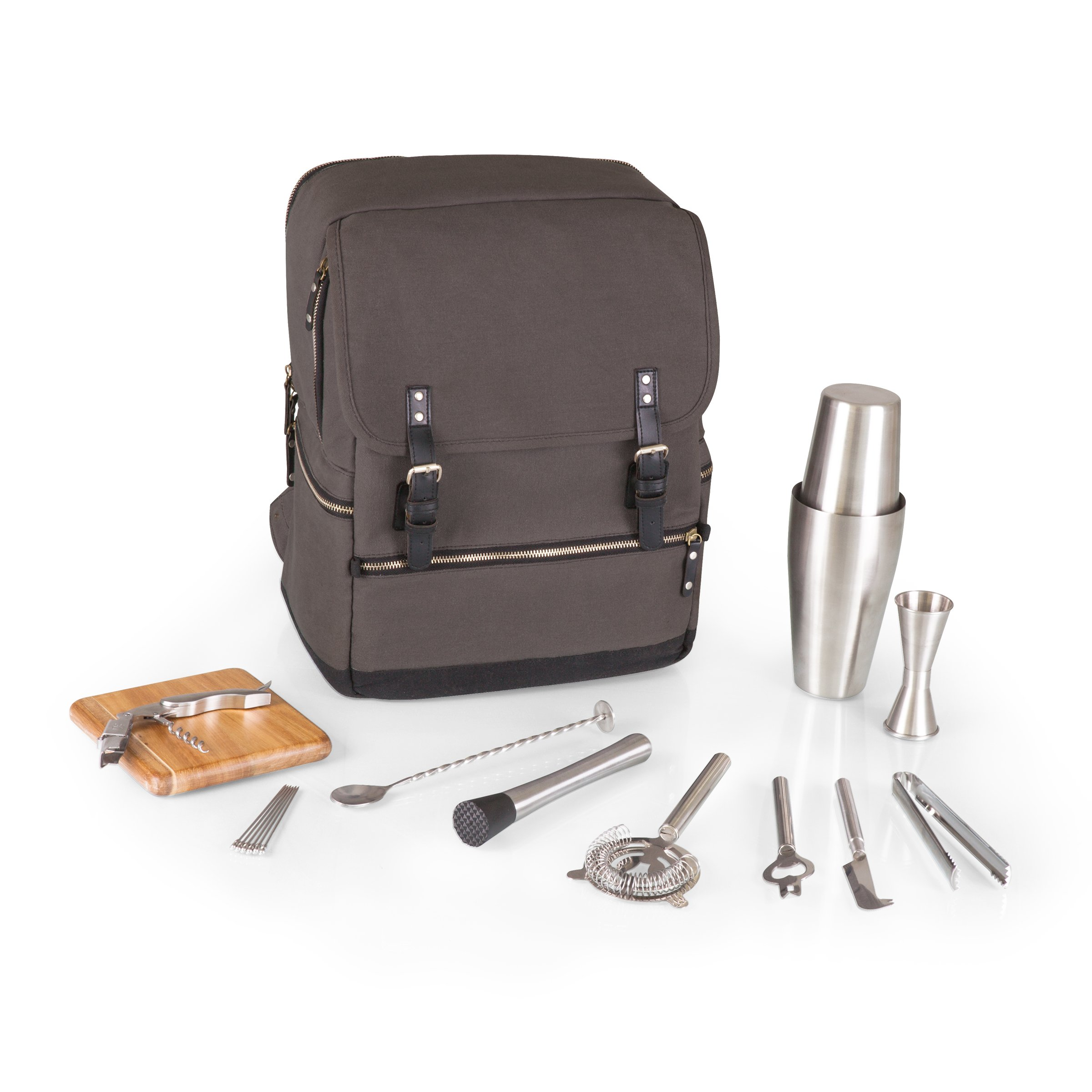 Picnic Time Bar Backpack 16-Piece Portable Cocktail Set, Grey/Black