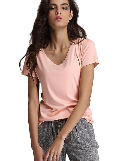 0535b837775 Escalier Women`s Short Sleeve V-Neck T-Shirt Casual Basic Solid Tees ...