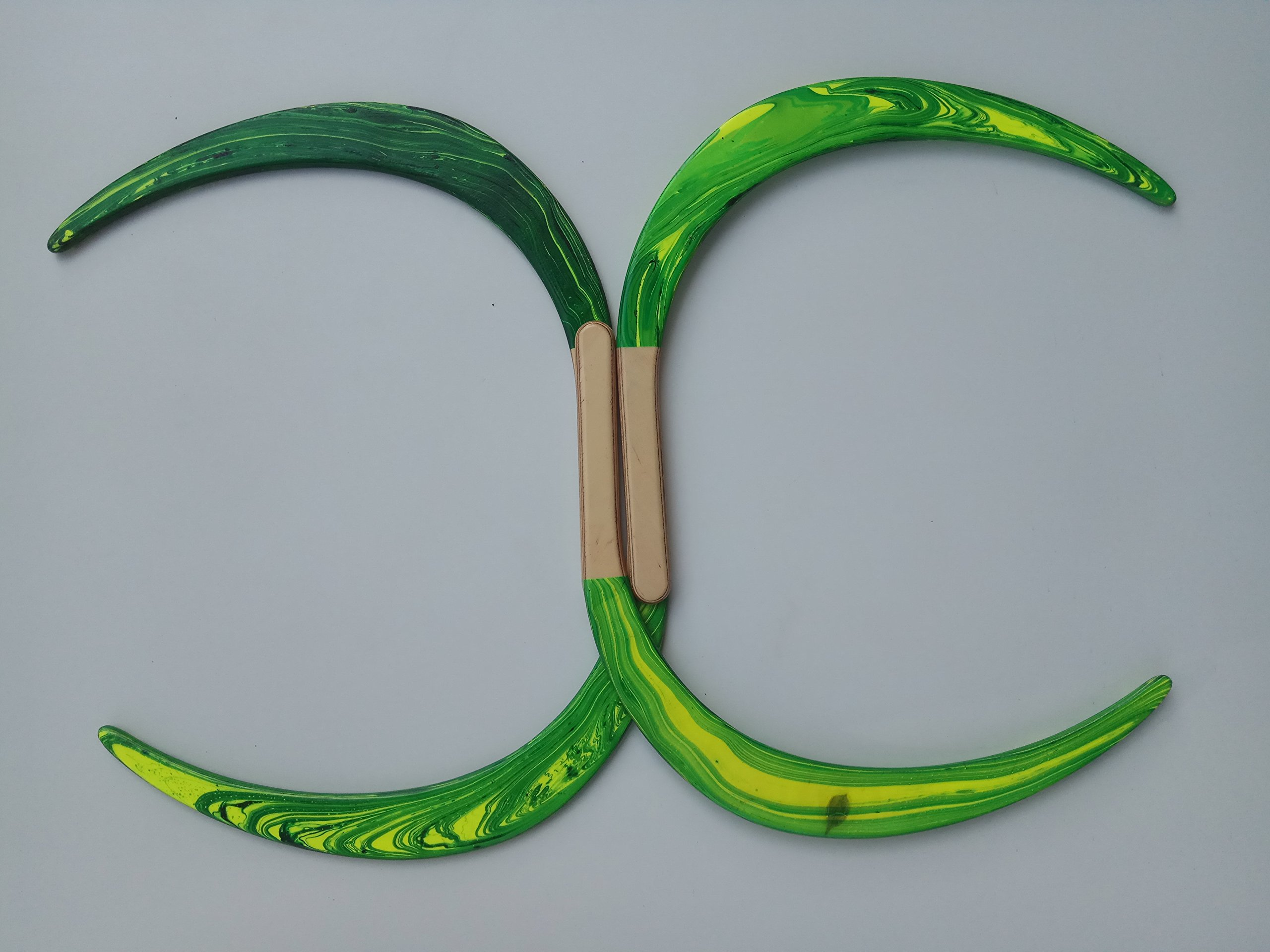 Swirl Buugeng Juggling S Staff S Staves Bugeng Hand Made 2 Pieces Yellow and Green Glows in UV Carry Bag by Buugeng Flow Master J.A.H (Image #8)