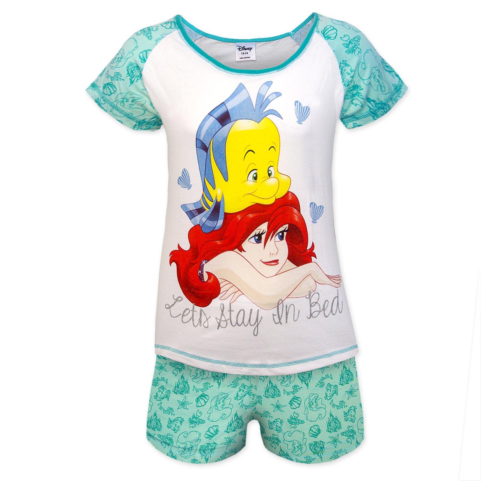 Disney Little Mermaid Official Gift Ladies Short Pajamas Green Size 16-18