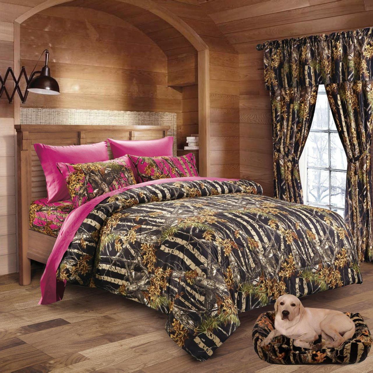 20 Lakes Hunter Camo Comforter, Sheet, Pillowcase Set Black & Hot Pink (Queen, Black & Hot Pink)