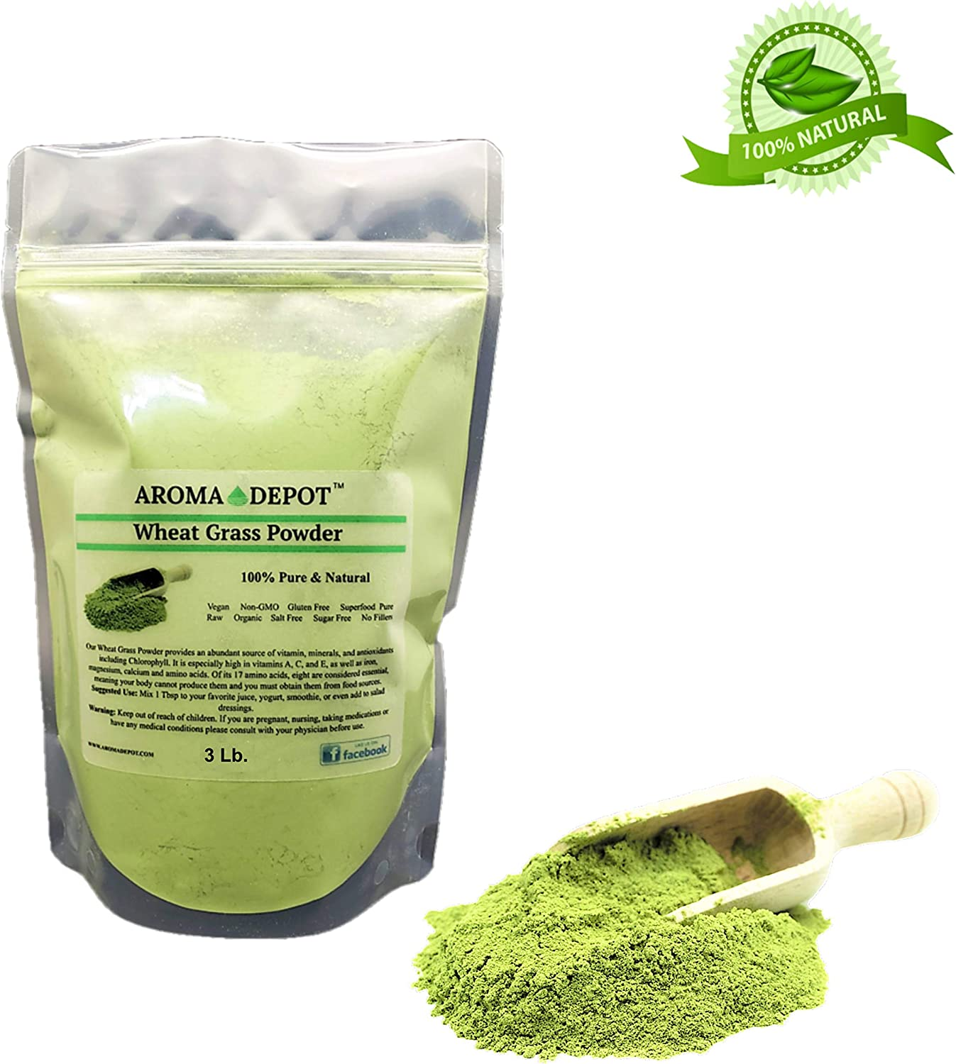 Aroma Depot 3lb Organic Wheatgrass Juice Powder I All Natural Raw Concentrate Wheatgrass, Gluten Free, Whole Food Supplement, Non_GMO, No Fillers, Rich in Vitamin B1 & B2, Increase Blood Cell Oxygen