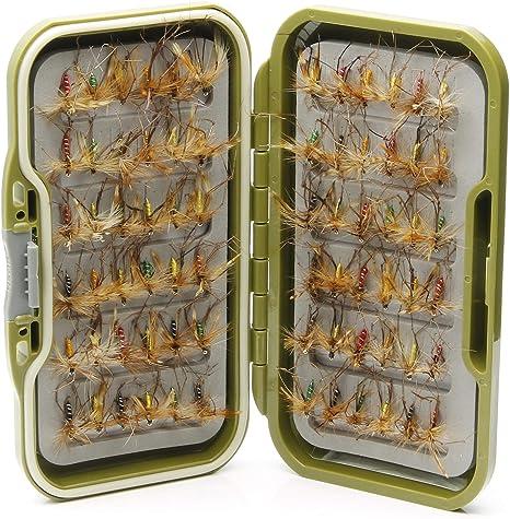 Lakeland Fishing Supplies Caja de Moscas Impermeable + 10, 25, 50 o 100 Patas largas Mixtas para Pesca de Trucha, Mosca, Hook Size 14: Amazon.es: Deportes y aire libre