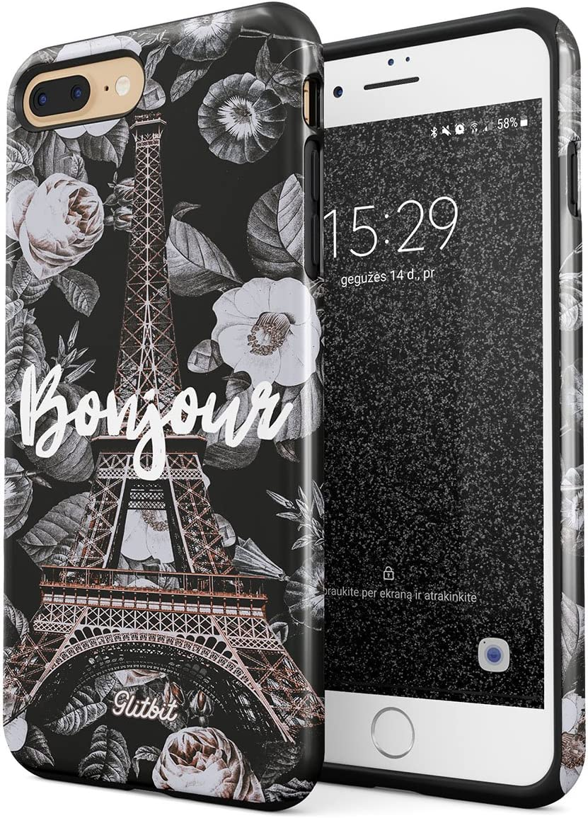 Glitbit Compatible with iPhone 7 Plus iPhone 8 Plus Case Bonjour Paris Eiffel Tower Floral France City of Love Roses Flower Heavy Duty Shockproof Dual Layer Hard Shell + Silicone Protective Cover