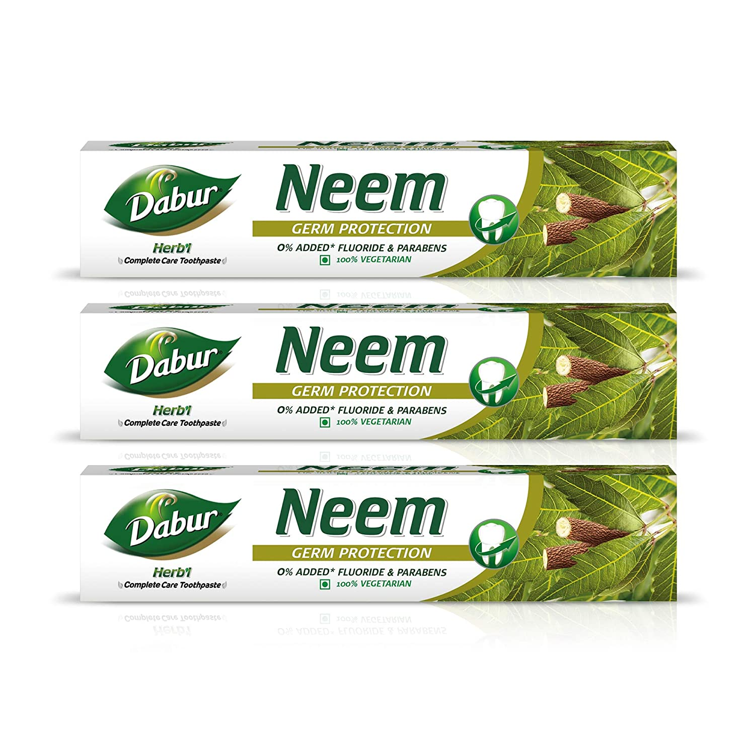 Dabur Herb'l Neem Toothpaste with No added Fluoride and Parabens – 200 g (Pack of 3)