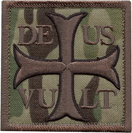 2AFTER1 ACU Subdued Deus Vult God Wills It Crusader Knight Holy Cross Templar Crusaders Morale Sew Iron on Patch