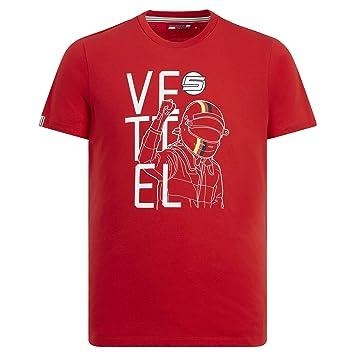 Camiseta de Manga Corta para Hombre de la Marca Sports Merchandising B.V. Scuderia Ferrari F1 Sebastian Vettel Red: Amazon.es: Deportes y aire libre