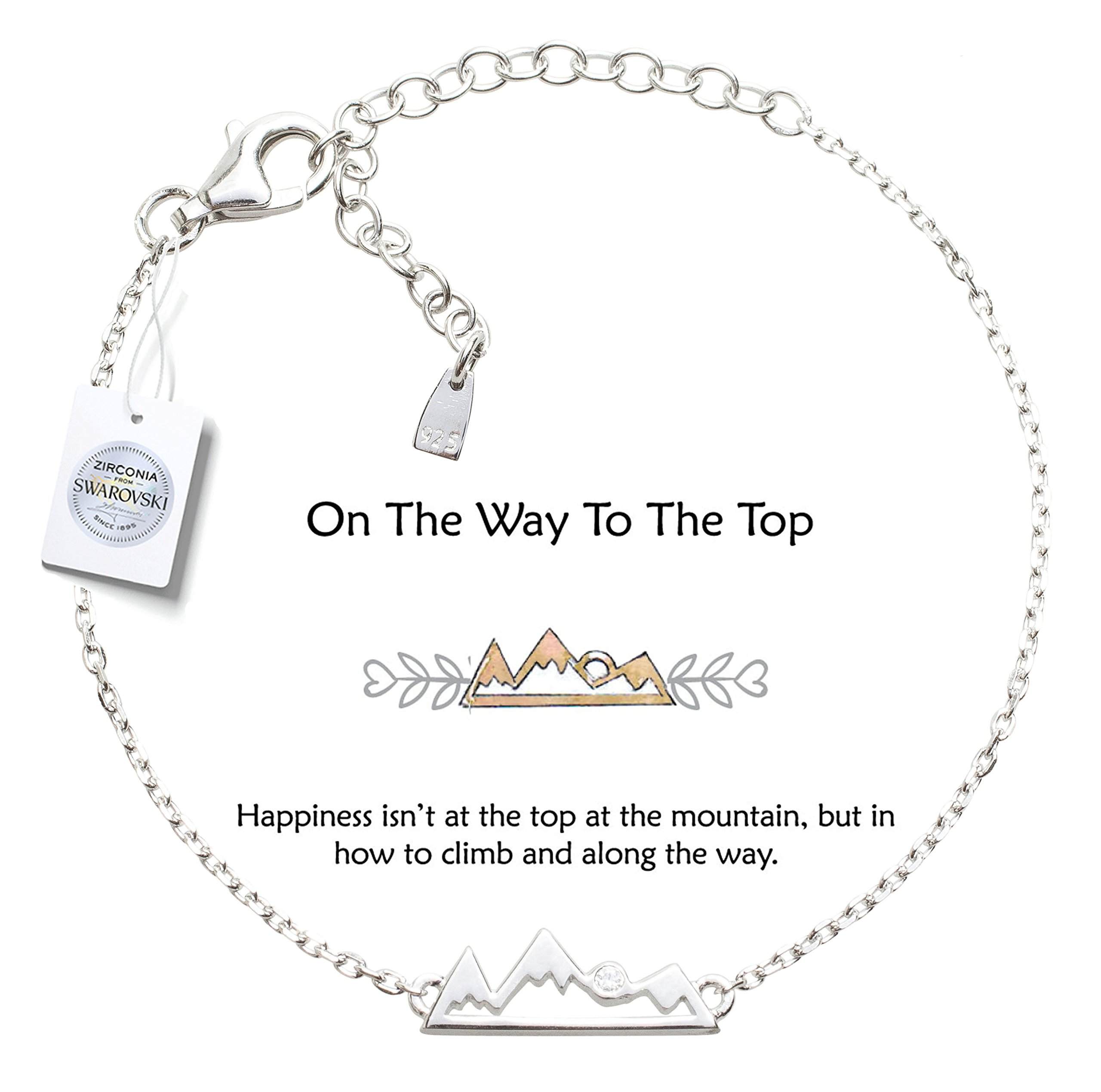 Vivid&Keith Bracelet 925 Sterling Silver Adjustable 18K Gold Plated with Swarovski Zirconia (Snowy Mountain, White-Gold-Plated-Silver)