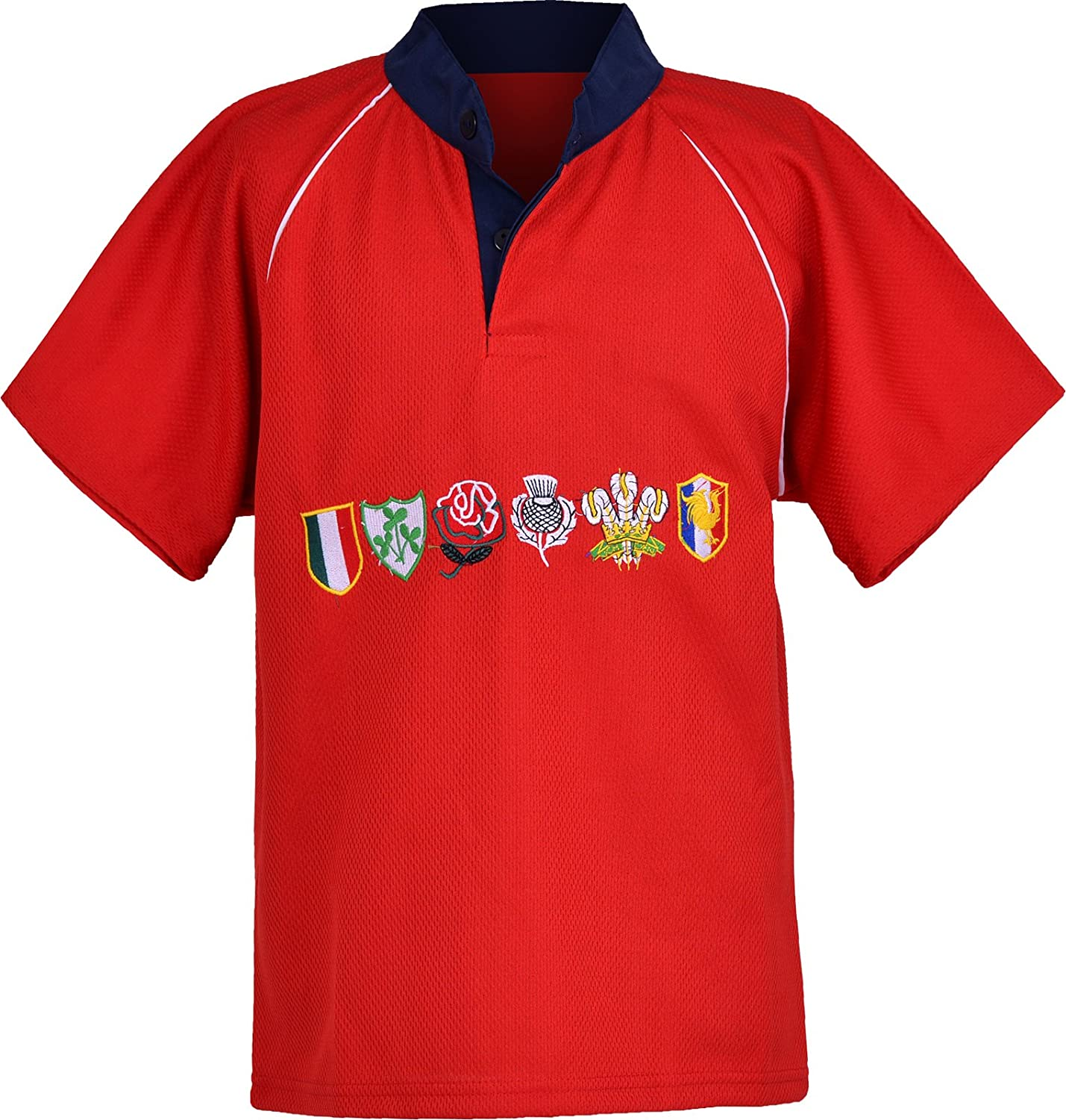 Activewear Children 6 Nation Rugby Shirts Size 3/4Y to 11/12 Year (2XL 11/12Y, RED) NMK6NRS01