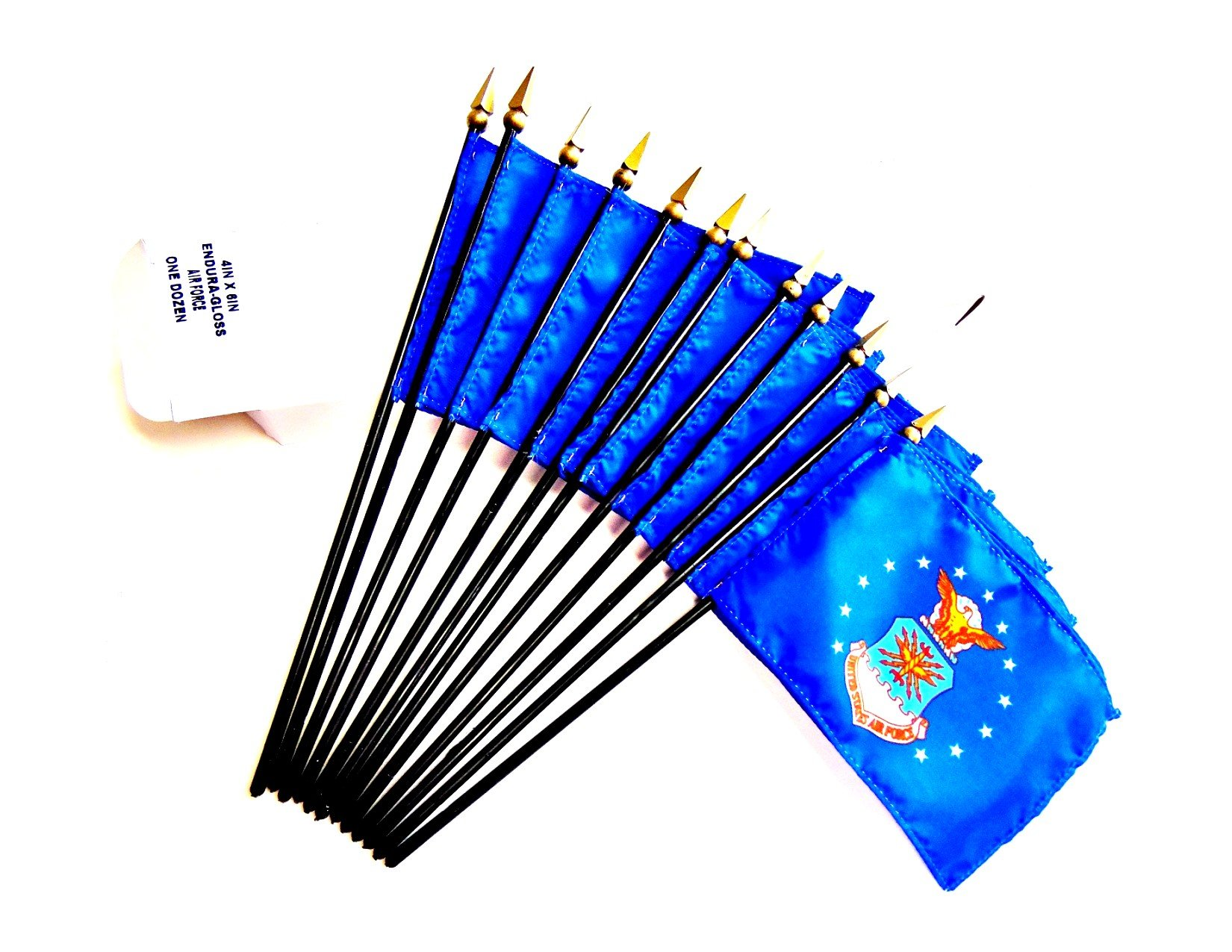 MADE IN USA!! Box of 12 US Air Force 4''x6'' Miniature Desk & Table Flags; 12 American Made Small Mini United States Air Force Flags in a Custom Made Cardboard Box Specifically Made for These Flags