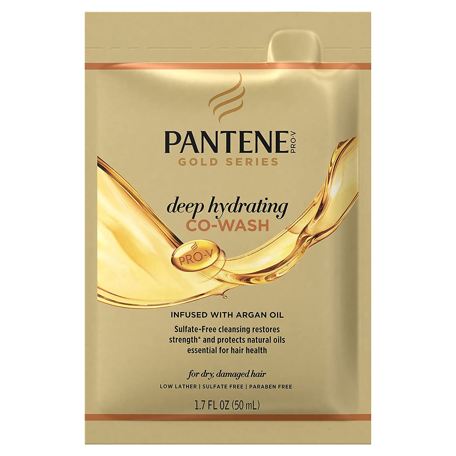 Pantene Pro-V Gold Series Deep Hydrating Co-Wash, 1.7 oz for African American, Ethnic and Curly Hair Care