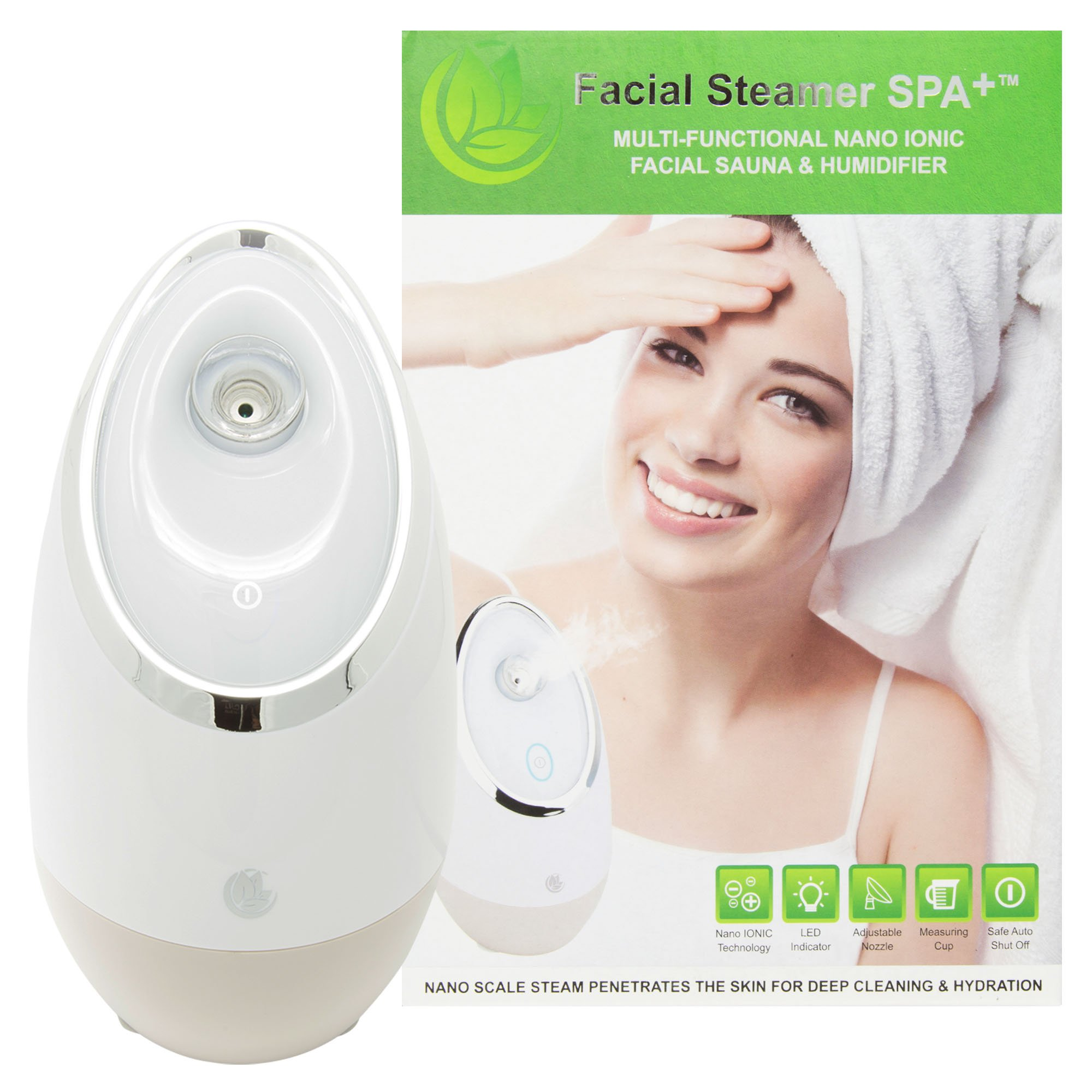Facial Steamer SPA+ by Nuvéderm BEST Nano Ionic, Warm Mist, Home Face Sauna & Portable Humidifier Machine. Perfect for Deep Cleaning Pores, Blackhead Removal, Acne Treatment, and Daily Skin Hydration