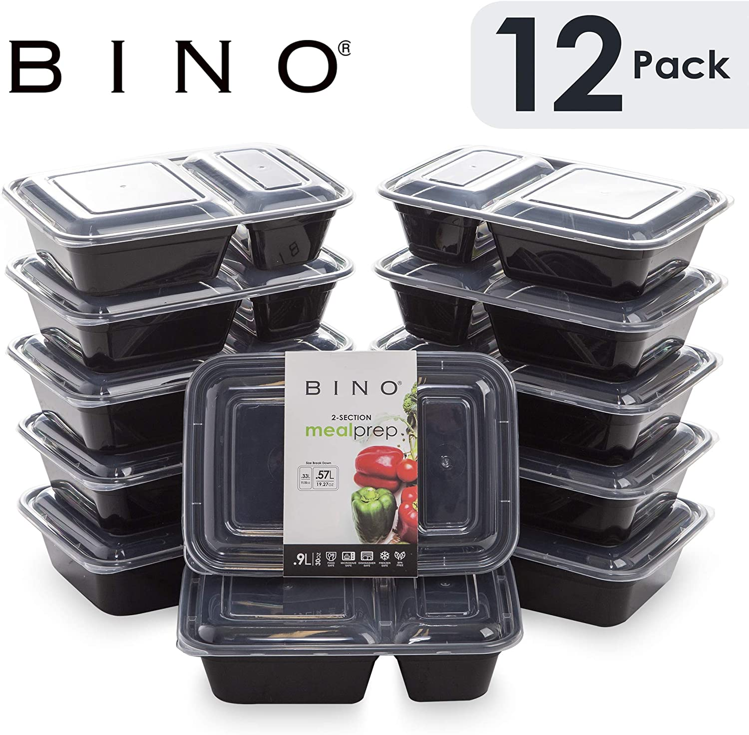 BINO Meal Prep Containers with Lids - 2 Compartment /30 oz [12-Pack], Black - Bento Box Lunch Containers for Adults Food Containers Meal Prep Food Prep Containers Tupperware Set