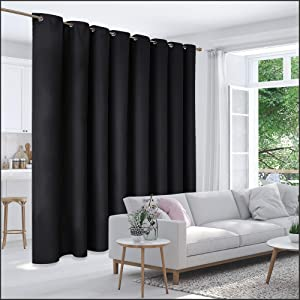 Deconovo Privacy Room Divider Curtain Thermal Insulated Blackout Curtains Screen Partition Room Darkening Panel for Apartment, Studio, 15ft Wide x 8ft Tall 1 Panel Black