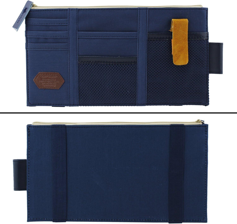 visor de sol ICEBLUEOR Organizador de visera para coche azul oscuro de lona multifunci/ón para el espacio del coche organizador de tarjetas de tel/éfono