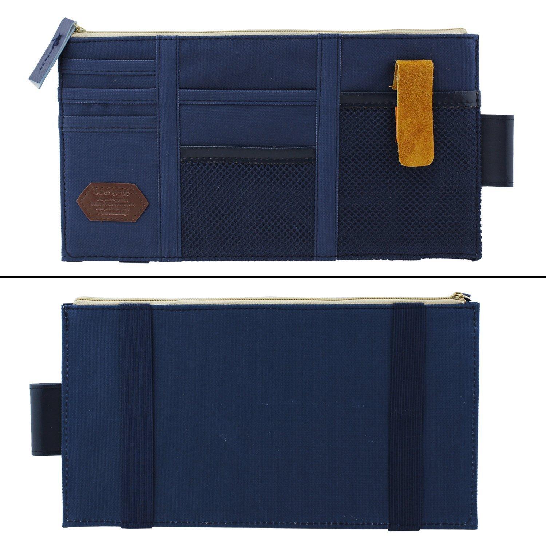 Rangement Stockage Bleu Fonc/é Organiseur pour Pare-Soleil de Voiture Multifonction en Toile pour Ranger les Cartes et T/él/éphones Sacoche par ICEBLUEOR