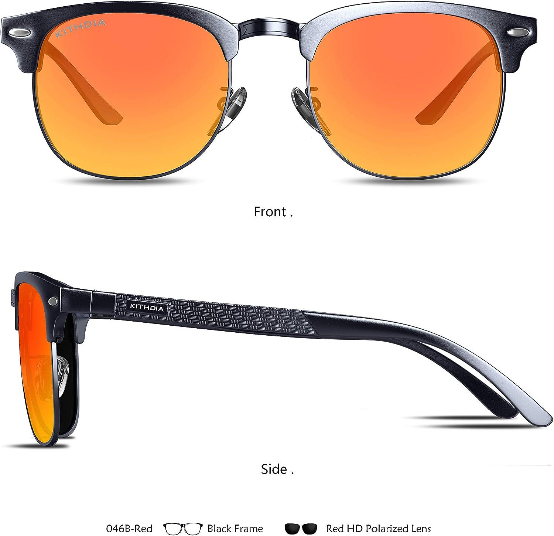 KITHDIA Polarisiert Sonnenbrille Herren Damen Aluminium Magnesium Metallrahmen S046