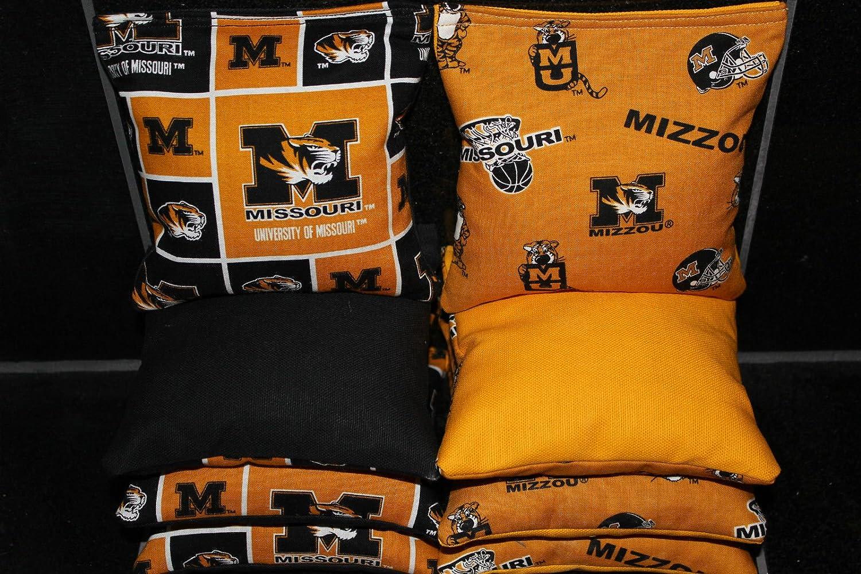 BackYardGamesUSA 8 Cornhole BEANBAGS Made w Missouri Mizzou Tigers Fabric ACA Reg Bags
