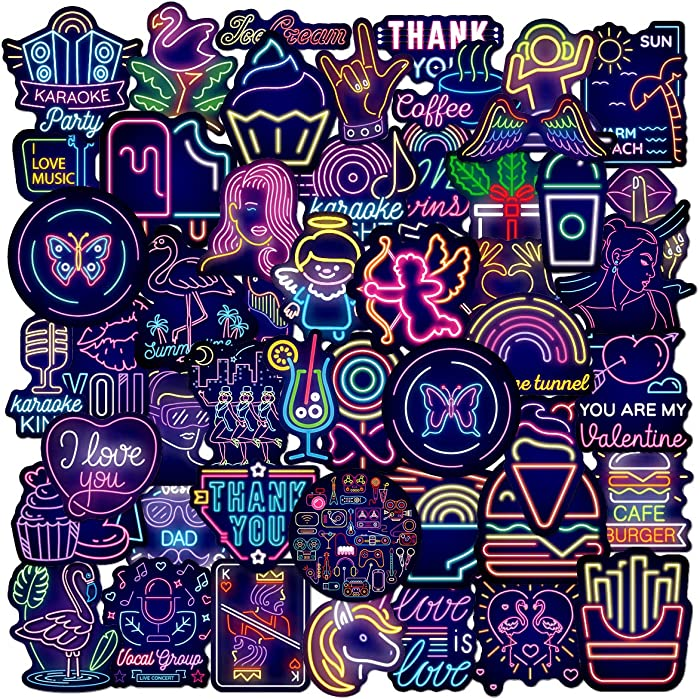 Neon Lights Stickers| 50 PCS | Vinyl Waterproof Stickers for Laptop,Skateboard,Water Bottles,Computer,Phone,Neon Lights Stickers for Kids Adult (Neon Lights-50PCS)