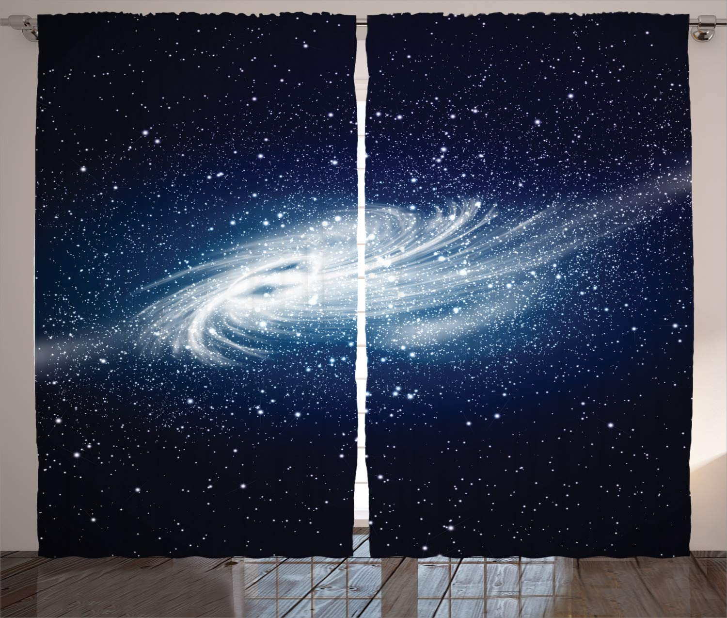 Ambesonne Space Decorations Curtains 2 Panel Set by, Spiral Galaxy Image Space and Stars Celestial Cosmos Expanse Universe Modern Print, Living Room Bedroom Decor, 108 W X 84 L Inches Navy White