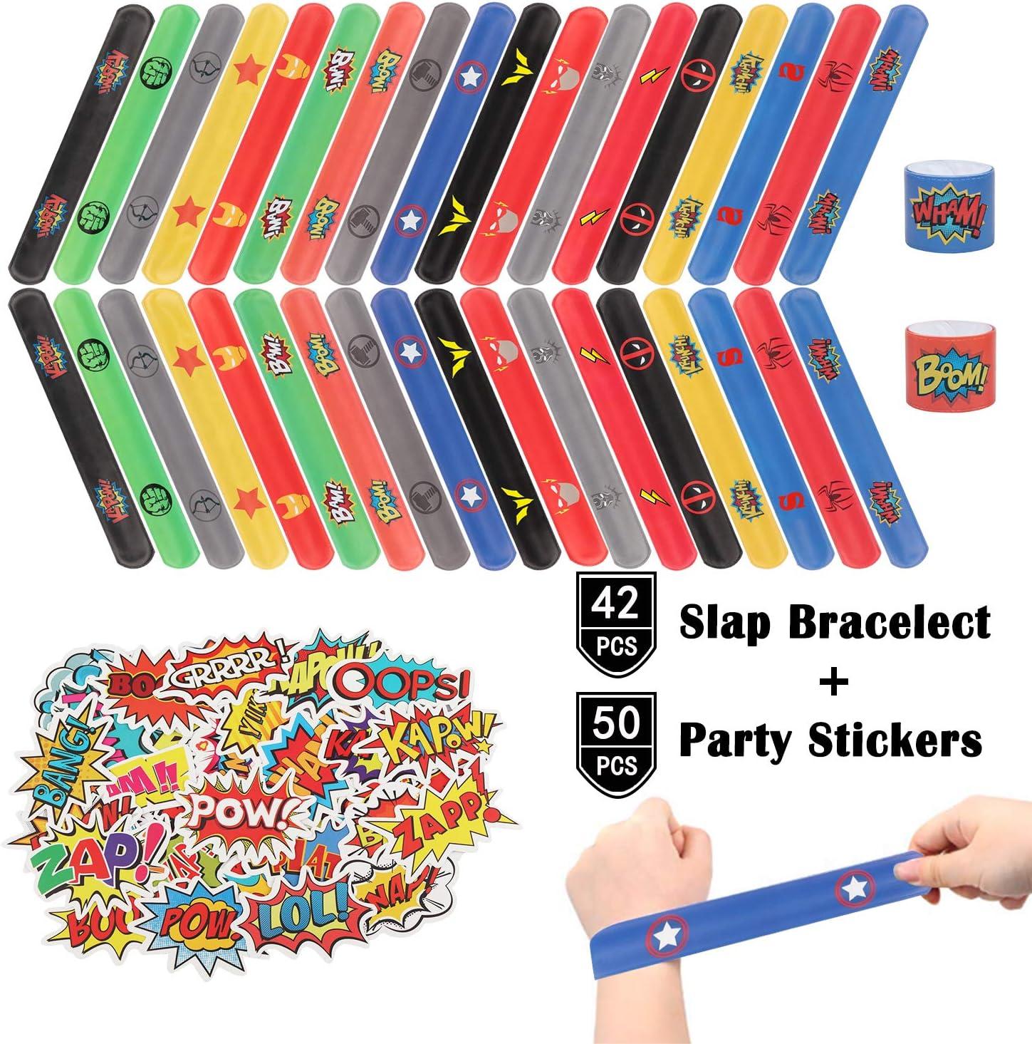 HXDZFX Superhero Slap Pulseras – 42 piezas The Avengers Slap pulsera para niños – Los Vengadores fiesta de cumpleaños suministros Favors – Cartoon Superhero Party Stickers(50 unidades): Amazon.es: Juguetes y juegos