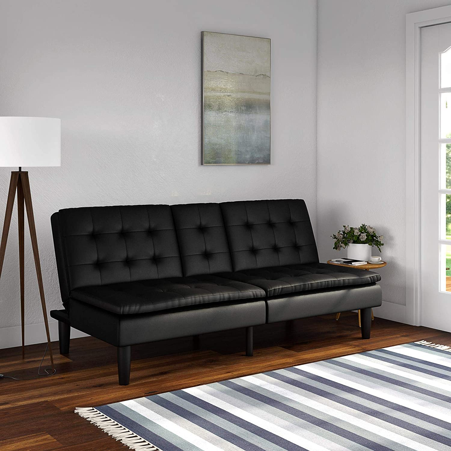 Black Faux Leather Mainstay Memory Foam Faux Leather PillowTop Futon with Cupholders and Frame