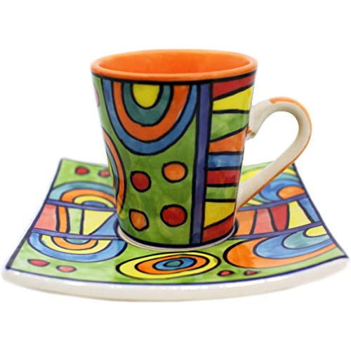 Gall&Zick handbemalte Espressotassen mit Untertasse - Keramik - Set