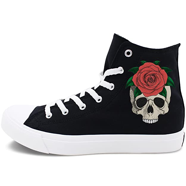Amazon.com | Wenfire Fashion Red Rose Skull Design Shoes White Black Canvas Men Women Flat Sneakers | Fashion Sneakers