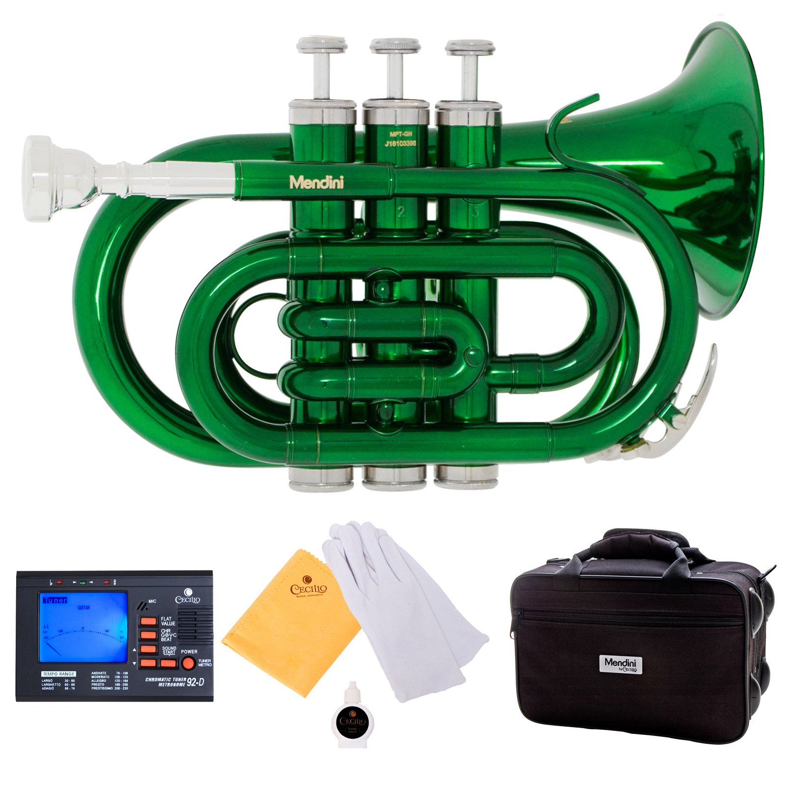 Mendini MPT-GN Green Lacquer Brass Bb Pocket Trumpet with One-Year Warranty, Tuner, Mouthpiece and Deluxe Case