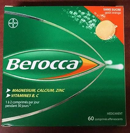 BEROCCA Boite de 60 comprimés effervescents goût Orange sans sucre