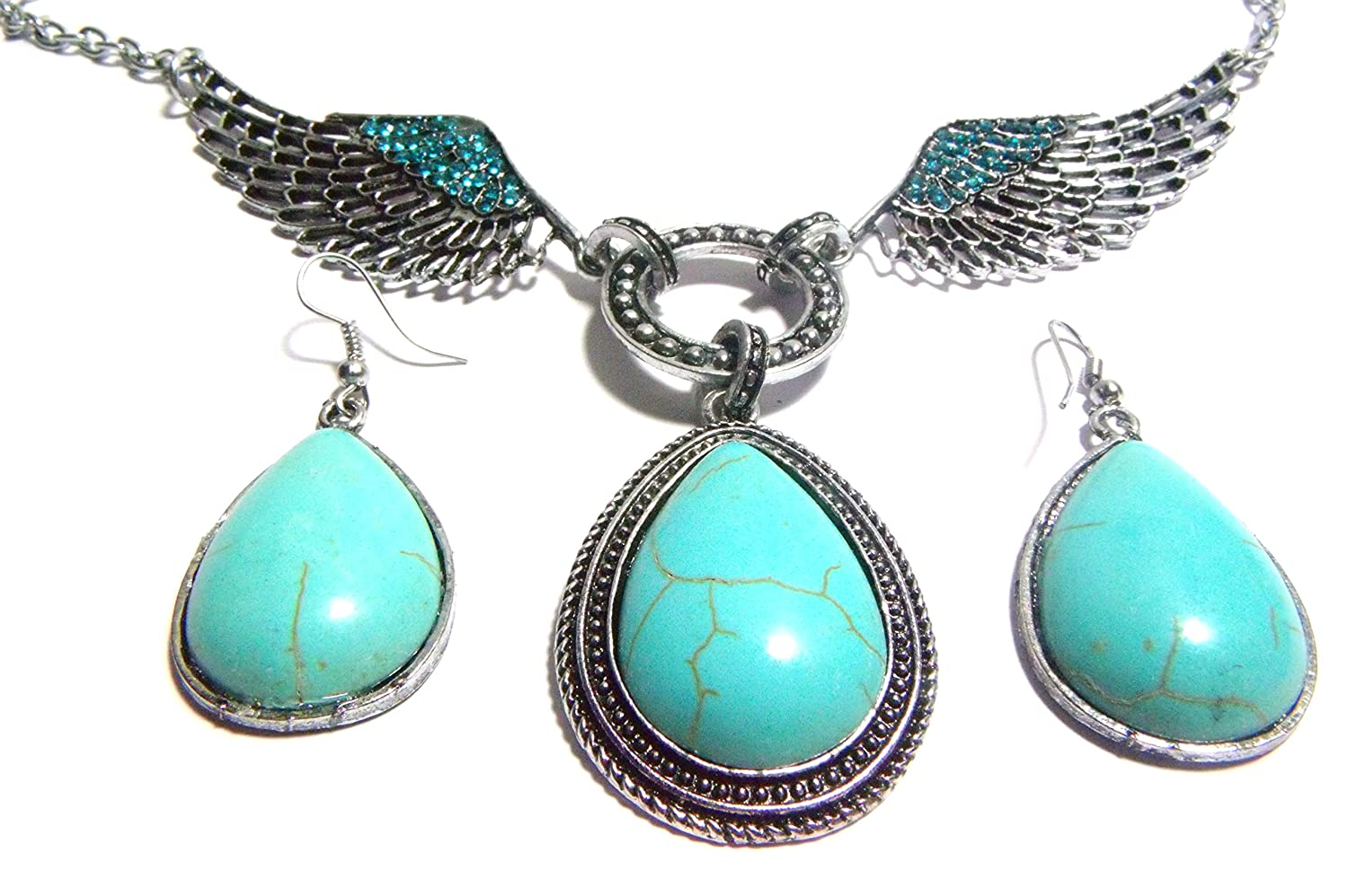 "Necklace & Earring Set: 20"" (22""+ 2"" Ext) Angel Wings Blue Crystal Southwestern Oval Pendant Green Simulated Turquoise & 2"" Inch Oval Dangle Drop Earrings"
