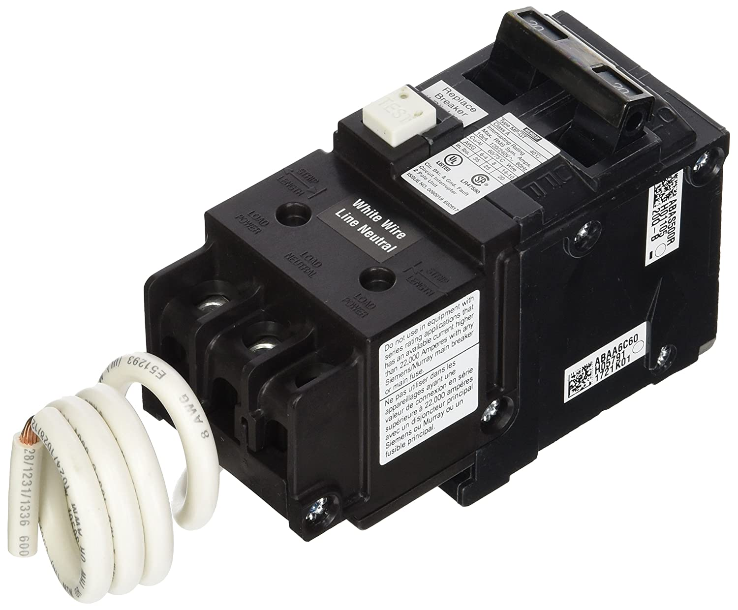 Murray Mp220gfa 20 Amp 2 Pole Gfci Circuit Breaker With Self Test In Doublepole Lockout
