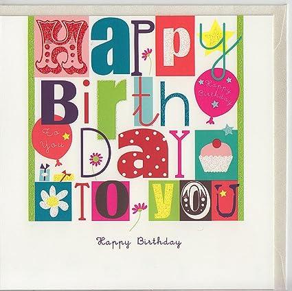 Tarjeta de cumpleaños Happy Birthday Multicolor con texto ...