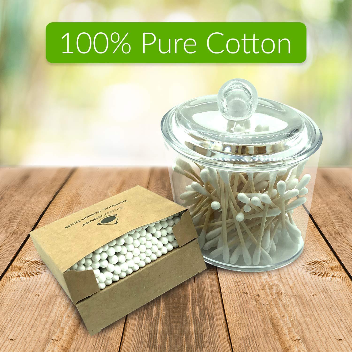 100/% Natural Cotton 100/% Bio-degradable 600pk Bamboo Cotton Buds by ocean saver 6 x 100 Environmentally Friendly Plastic Free Packaging