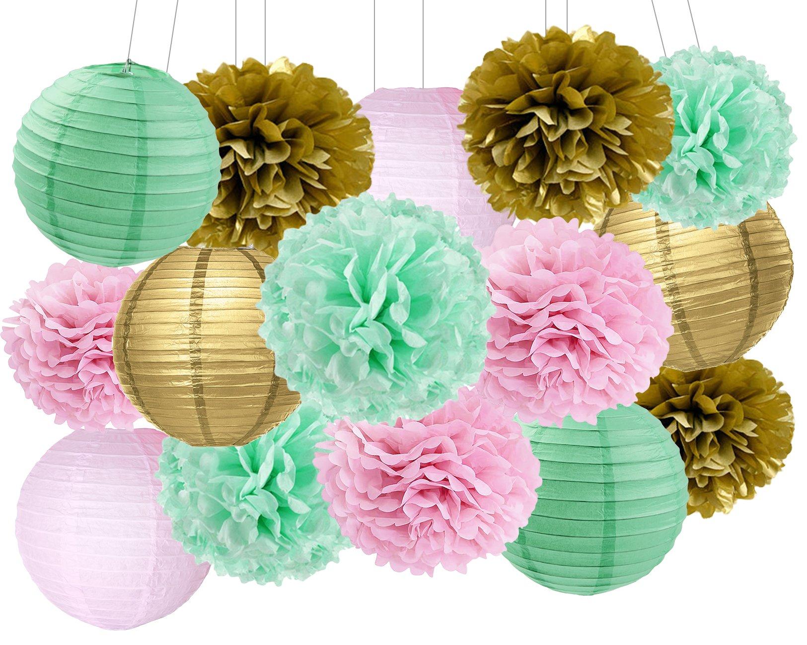 Baby Shower Decorations Furuix 15pcs Mint Pink Gold Party Decoration Tissue Paper Pom Poms for Birthday Party Decoratios Bridal Shower Decorations
