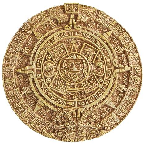 Aztec Solar Calendar Wall Relief, 10 Inches