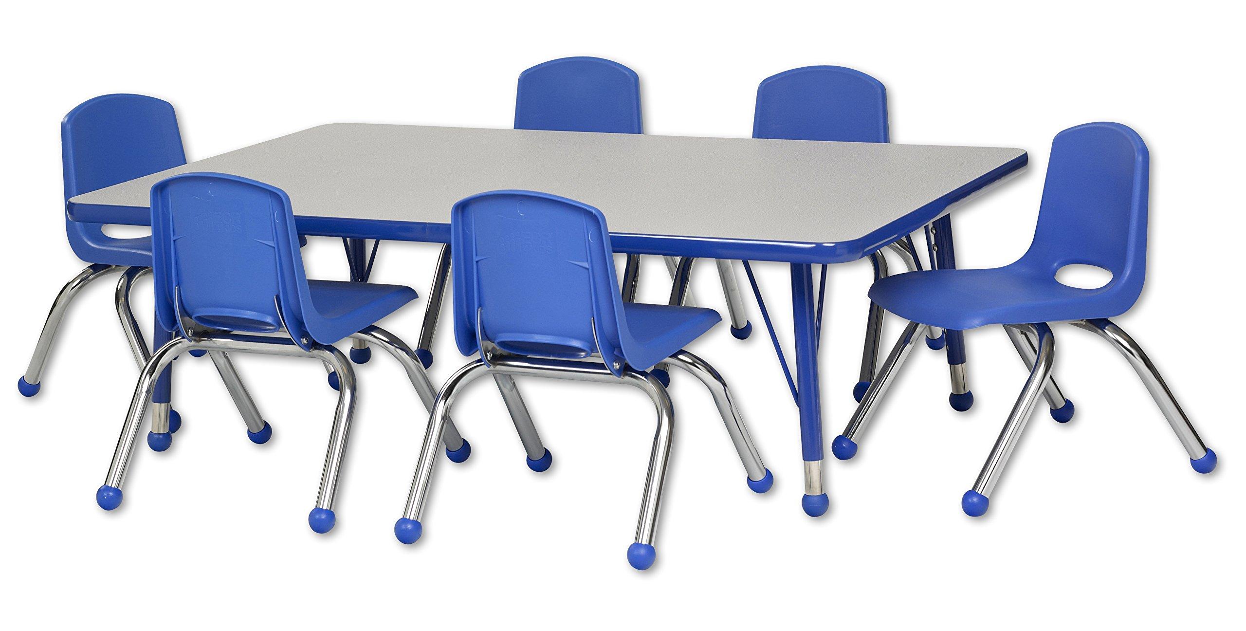 ECR4Kids 30'' x 48'' Rectangular Activity Table, Gray Top/Blue Edge, Toddler Legs/Ball Glides, Six 10'' Blue School Stack Chairs